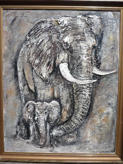 Artwork >> Monique Deleu >> elephant and baby