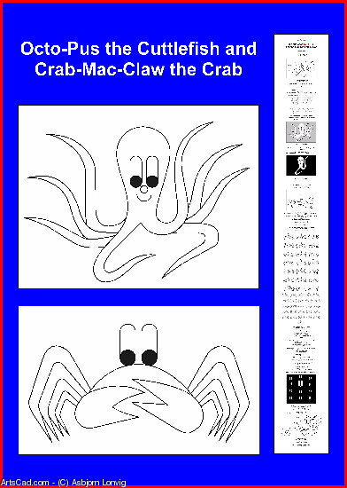 Artwork >> Asbjorn Lonvig >> The Cuttlefish and the Crab color yourself poster - in English