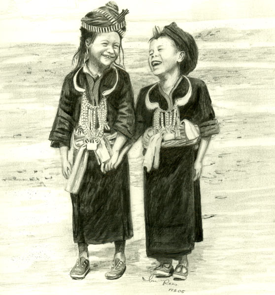 Artwork >> Ian Winslow Rees >> Hmong Children