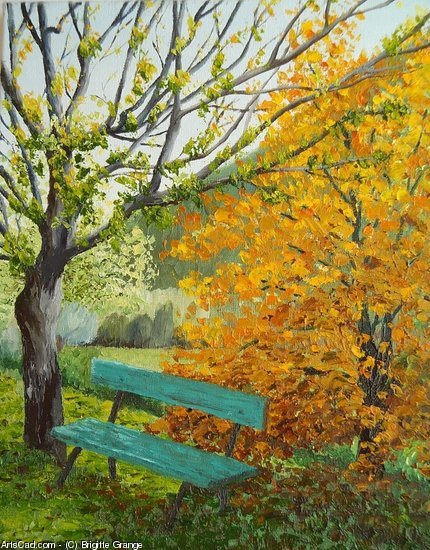 Artwork >> Brigitte Grange >> a bench up in  fall