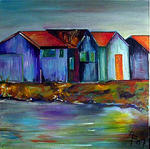 Annie Predal - small cabins  up in  edge  from  Sea in