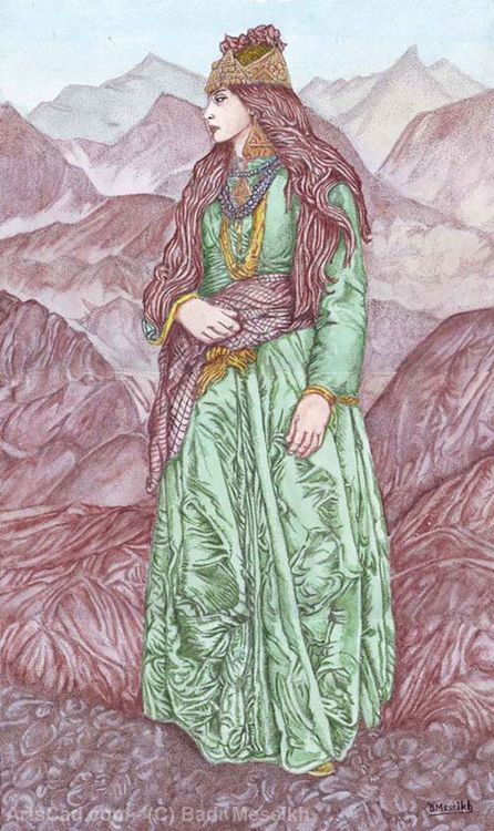 Artwork >> Badr Messikh >> Woman in green dress