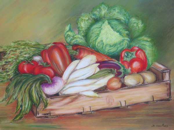 Artwork >> Cauchois Danielle >> Crate of flavors from the garden