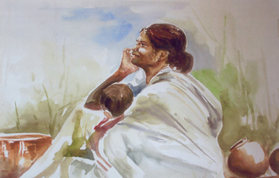Artwork >> Classical Indian Art Gallery >> MOTHER & CHILD - 1
