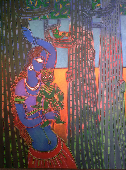 Artwork >> Santanu Nandan Dinda >> Lady with a puppet
