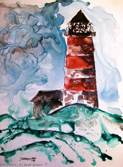 Artwork >> Derek Mccrea >> Sapelo Island lighthouse seascape watercolor painting on yupo paper