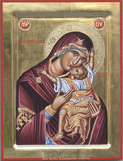 Artwork >> Adamantia Karatza >> Religious icon of Virgin Kardiotissa
