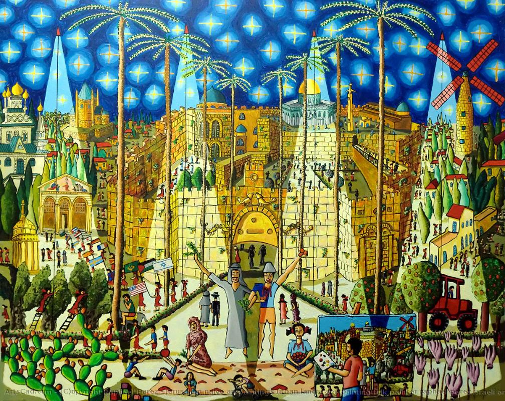 Artwork >> Raphael Perez >> jerusalem naive art paintings urban ...