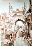 Classical Indian Art Gallery - CHARMINAR ON A BUSY DAY