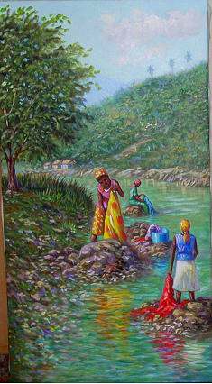 Artwork >> Eusebio Vidal >> washerwomen in the river