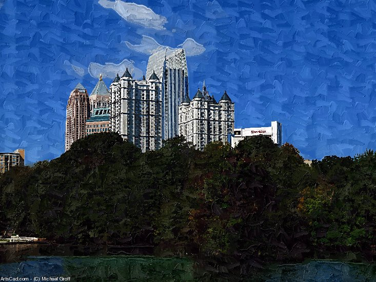 Artwork >> Michael Groff >> Atlanta View from Piedmont Park Art Photo Painting