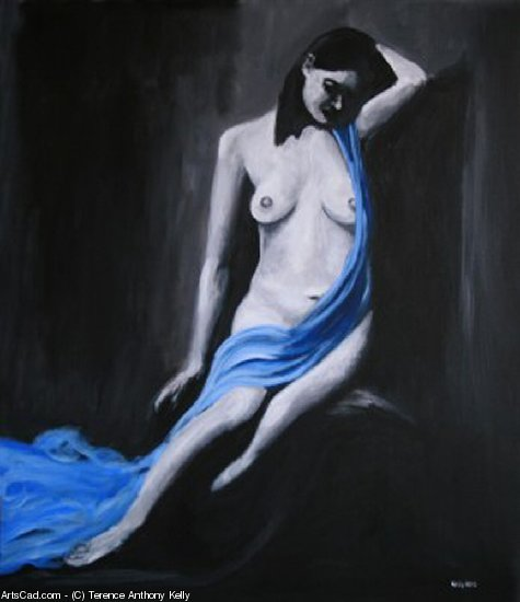 Artwork >> Terence Anthony Kelly >> Nude With Blue Vail