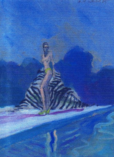 Artwork >> Harry Weisburd >> Nude With Zebra Chair By Pool  3D
