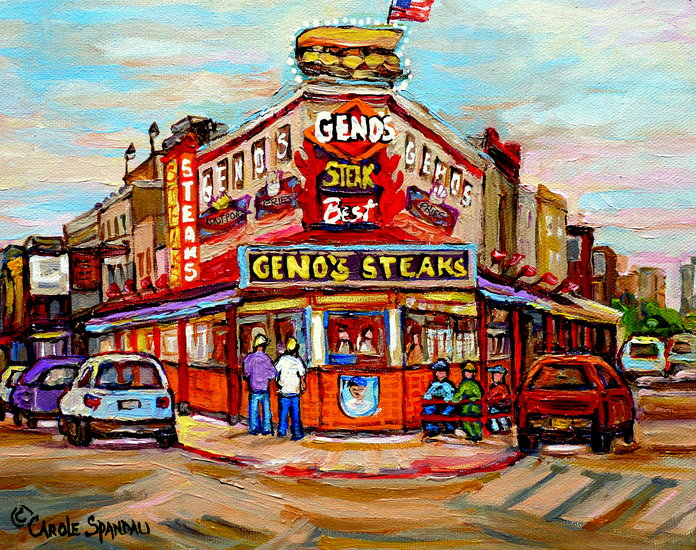 Artwork >> Carole Spandau >> GENO'S STEAKS PHILADELPHIA RESTAURANT SOUTH PHILLY CITY STREET SCENES