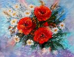 Natalya Zhdanova - spring mood original painting bouquet flowers poppies with camomiles original painting