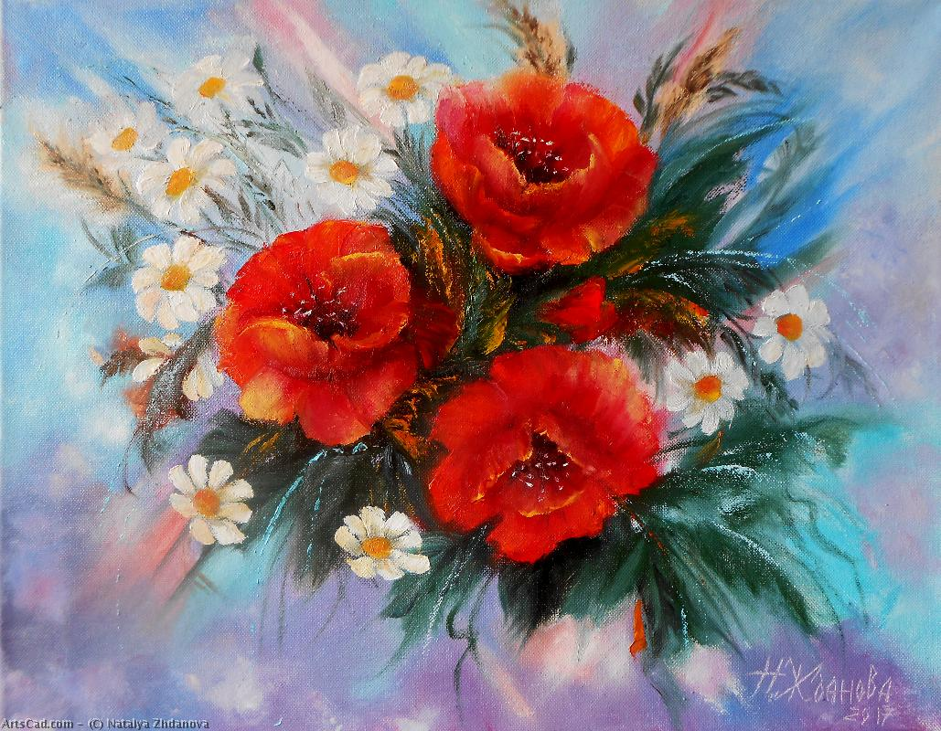 Artwork >> Natalya Zhdanova >> spring mood original painting bouquet flowers poppies with camomiles original painting