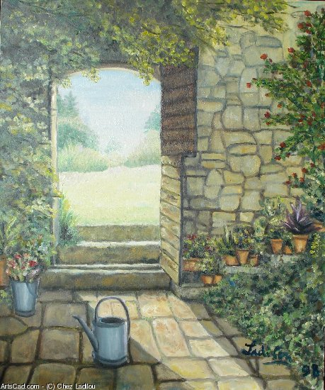 Artwork >> Chez Ladilou >> Out door garden at l'arrosoir
