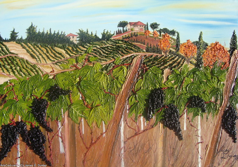 Artwork >> James E. Dunbar >> Tuscany Italy Wine Vineyard