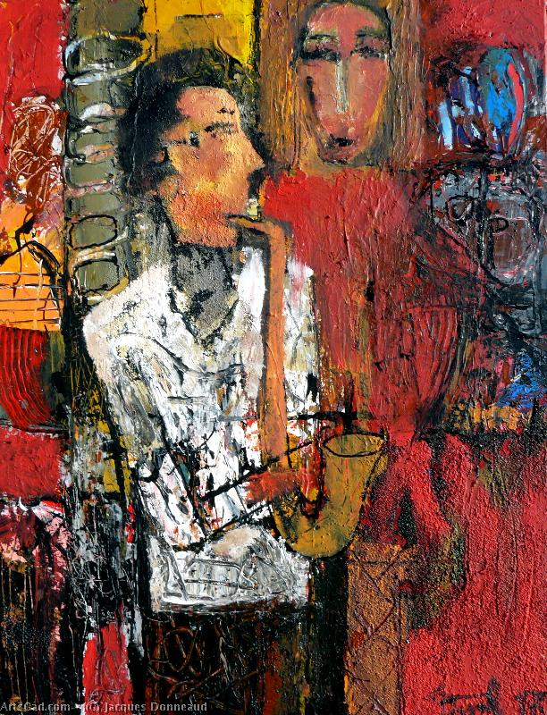 Artwork >> Jacques Donneaud >> musician place in  there  side street