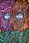 Mirit Ben-Nun - Faces and flowers modern drawings tinta on paper from israel mirit Ben-Nun