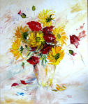 Sylviane Petit - POPPY AND Sunflowers  MUSSED