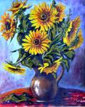 Remigio Megías García - Vase on with  Sunflowers