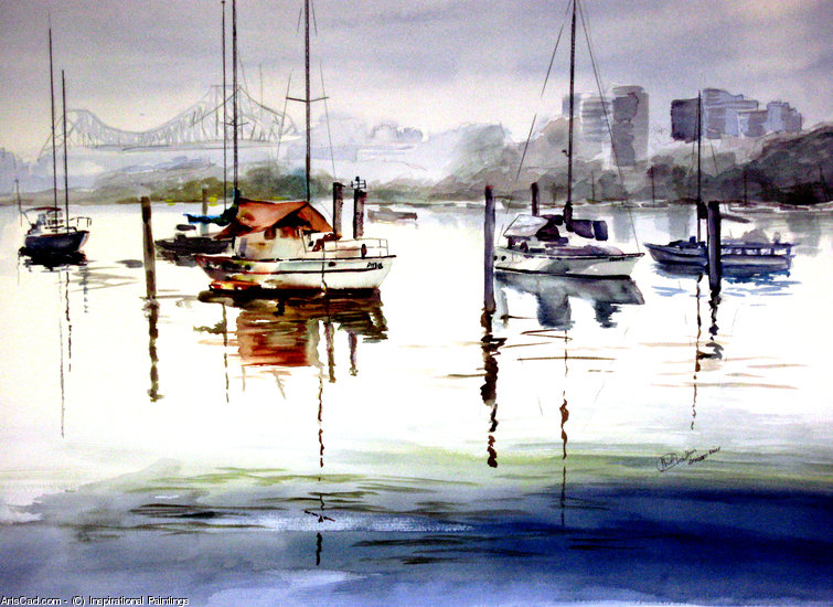 Artwork >> Inspirational Paintings >> BRISBANE RIVER FROM EDWARD STREET