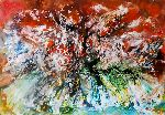 Natalya Zhdanova - Original abstract landscape painting wall art forest summer heat