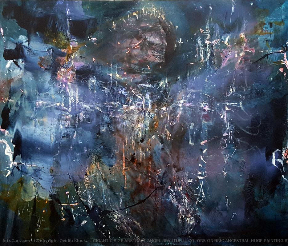 Artwork >> Ovidiu Kloska >> GIGANTIC SIZE ABSTRACT ANGEL BEAUTUFUL COLORS ONEIRIC ANCESTRAL HUGE PAINTING BY O KLOSKA
