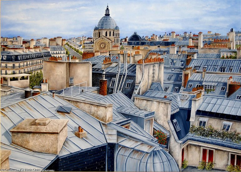 Artwork >> Marie-Claire Houmeau >> Rooftops of The paris Church st augustine