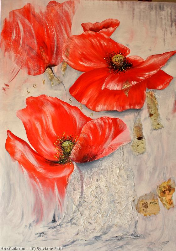 Artwork >> Sylviane Petit >> Poppies in -   travel