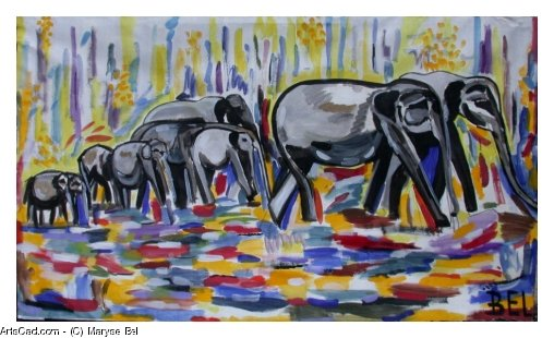 Artwork >> Maryse Bel >> ganescha and her army d'elephants