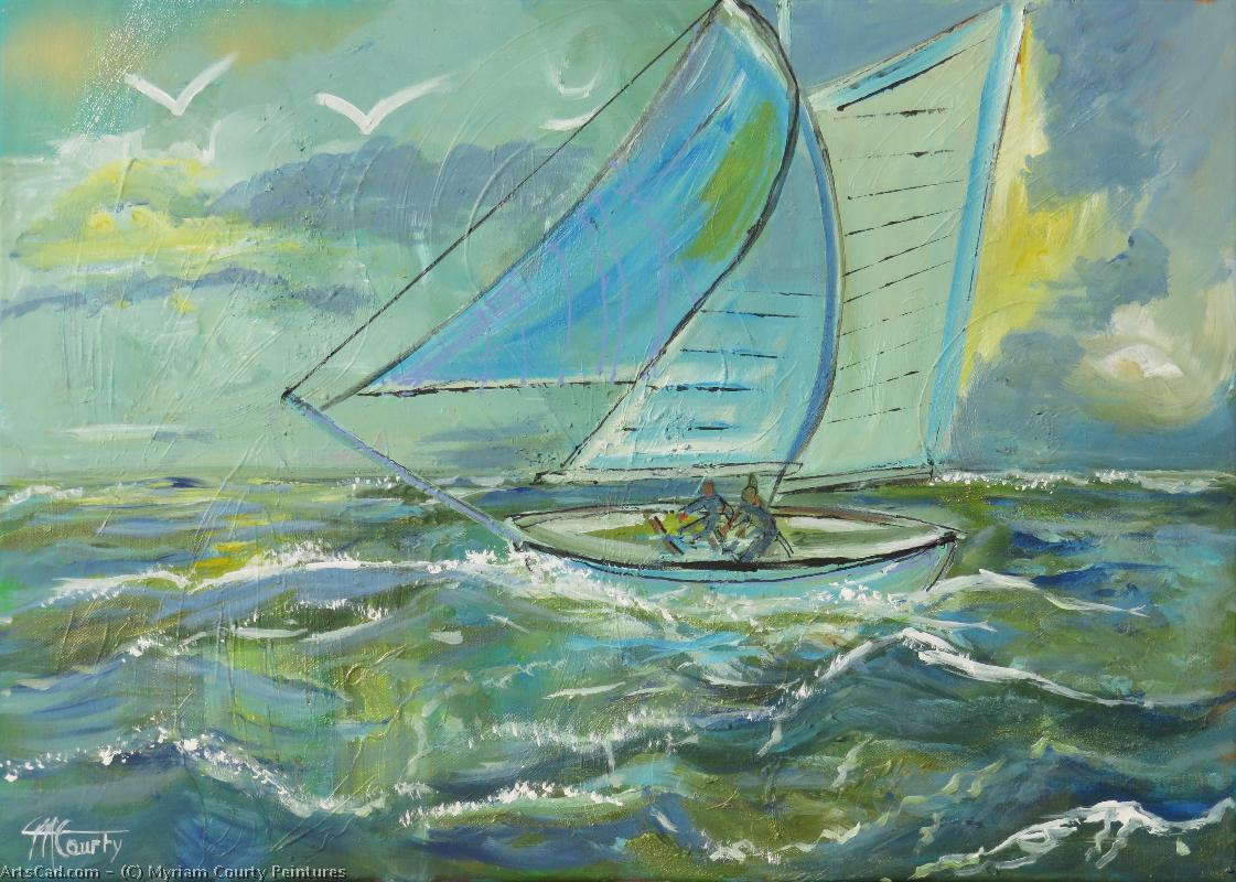 Artwork >> Myriam Courty Peintures >> sailboat in a grain