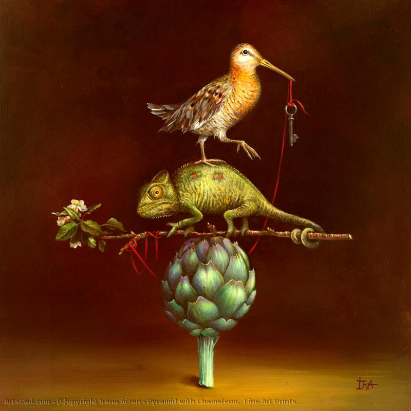Art by Irena Aizen : Irena Aizen - Pyramid with Chameleon.  Fine Art Prints