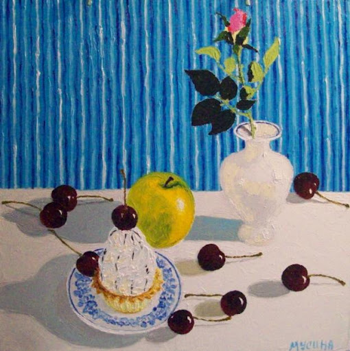 Artwork >> Artist Musina Julia >> Cake with cherries. Cake with sweet cherries.