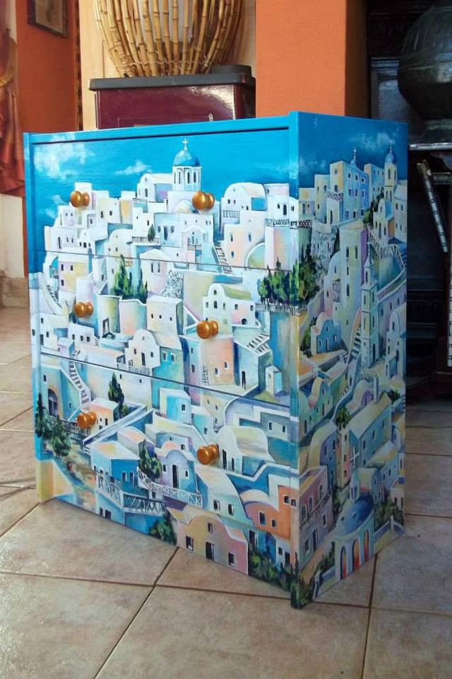 Artwork >> Creazioni Artistiche >> the Greek city of  №2   commode  hand painting
