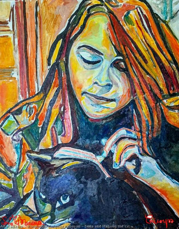 Artwork >> Grégoire Koboyan >> sona and manoug tea cat