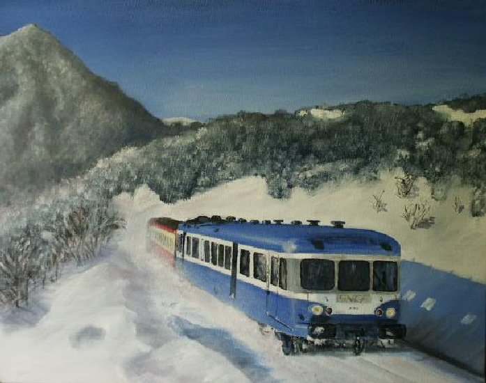 Artwork >> Jean Mithieux >> Diesel train place in  there  snow