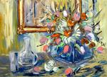 Gebo Peinture Au Couteau - FLOWERS and MIRROR