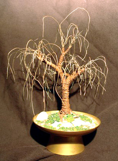 Artwork >> Sal Villano Wire Tree Sculpture >> RUSTED OAK  No.2 - Mini Wire Tree Sculpture