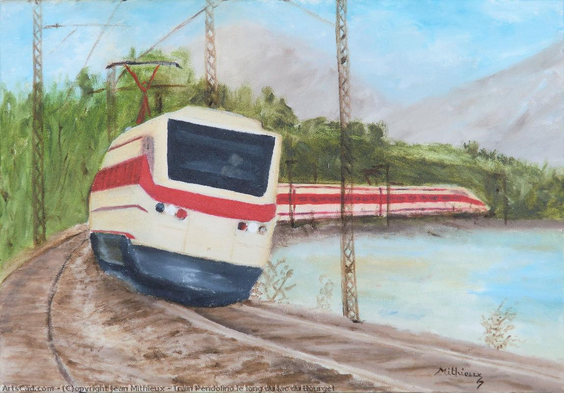 Artwork >> Jean Mithieux >> train pendolino along from lake bourget