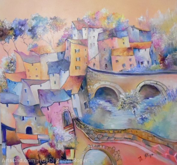 Artwork >> Di Bliqui Roger >> Town up in  Provence
