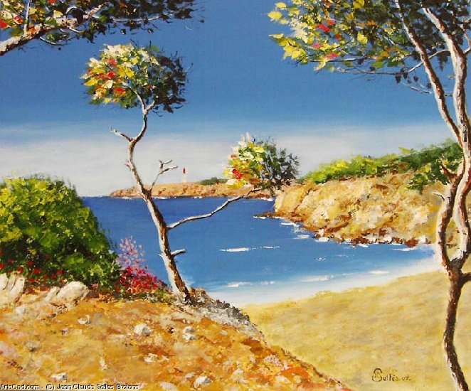 Artwork >> Jean-Claude Selles Brotons >> The beach ste Crosses carro , blue coast in mediterranean