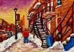 Carole Spandau - SHOPPING ALONG RUE WELLINGTON-VERDUN WINTER SCENE-MONTREAL CITY STREET SCENE