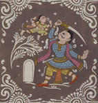 Classical Indian Art Gallery - KAMSA-S ATTEMPT TO SLAY MAYA