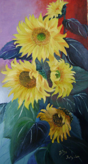 Artwork >> Zhen Lianxiu >> sunflowers solo