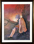 Classical Indian Art Gallery - OLD MAN WITH BOOK (Chugtai)