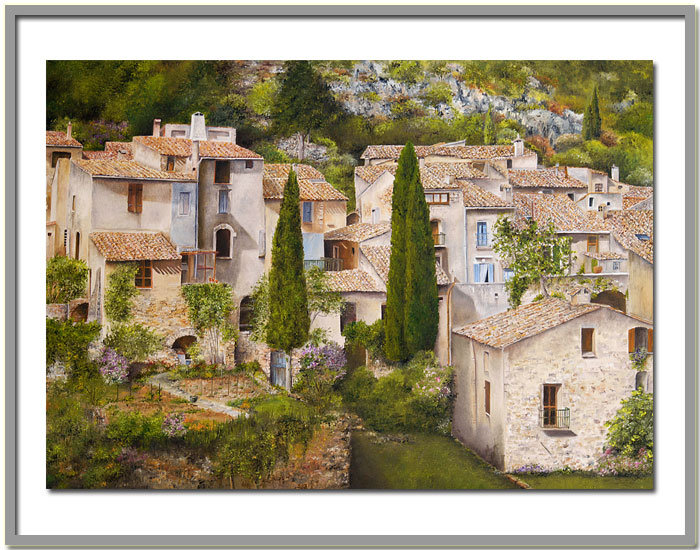 Artwork >> Marie-Claire Houmeau >> The village from st Guilhem the wilderness