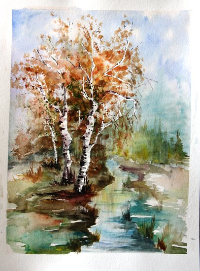 Artwork >> Marie Ciel Et Nuages >> Birch River