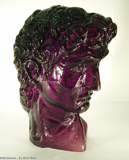 Artwork >> Bust Glass >> blown glass sculptured portrait